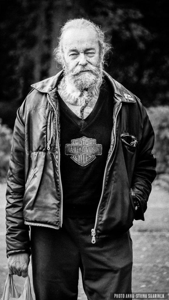"Portrait of a man, ""Howlin' Moon MC"", Turku, Finland, photo Anna-Stiina Saarinen"