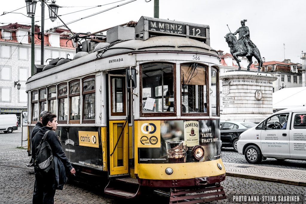 A tram and driver at Rossio, Lisboa, photo Anna-Stiina Saarinen