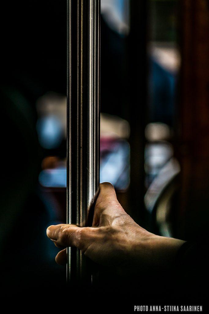 A hand, a grip in the tram, Lisboa, photo Anna-Stiina Saarinen