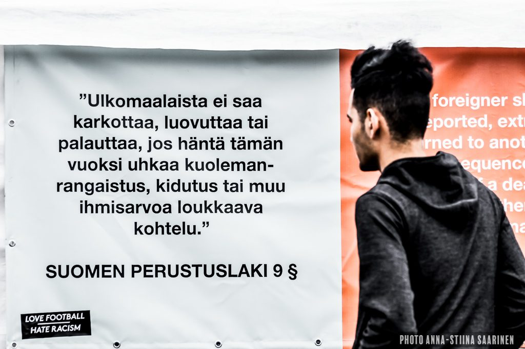 A refugee looking at a clause of the constitutional law of Finland, Helsinki 2017
